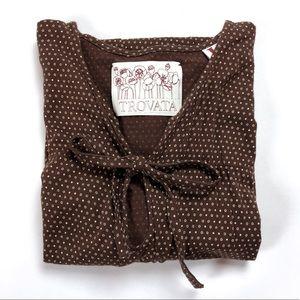 Trovata brown white polka dot bow short sleeve top